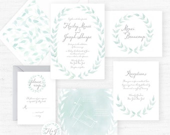 The Hailey Collection | Sample Wedding Invitation | Hand-Painted Watercolor Wedding Invitations