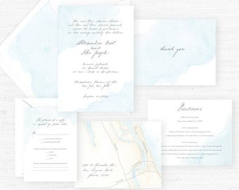 The Madeleine Collection | Sample Wedding Invitation | Hand-Painted Watercolor Wedding Invitations
