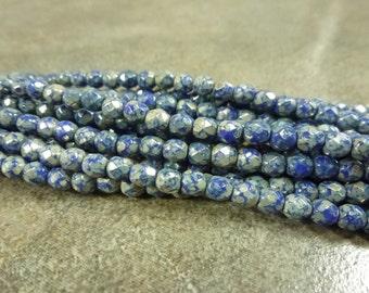 Czech Glass Firepolish Beads Dark Blue w/Green & Silver Travertine 4mm Faceted Glass 50pc
