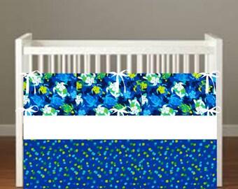 Sea Turtle Crib Bedding - Nursery Decor 3 Piece Set bumper, skirt, sheet, - Choose Your fabrics