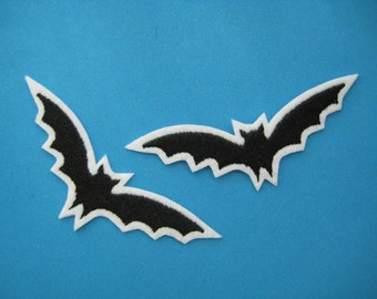 2 pcs Iron-on Embroidered Patch Flying Bat 3.5 inch