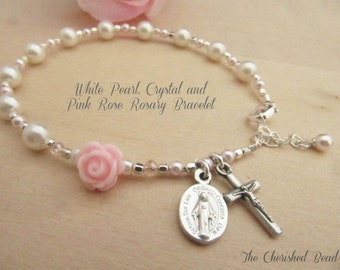 White and Light PInk Swarovski Pearl, Crystals and Light Pink Rose Rosary Bracelet