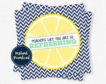 Teacher Appreciation, Back to School Teacher Tag, Refreshing Teacher Gift, Teacher Printable INSTANT DOWNLOAD