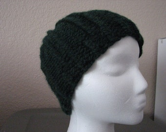 Mens/Boys knitted ribbed beanie-hat