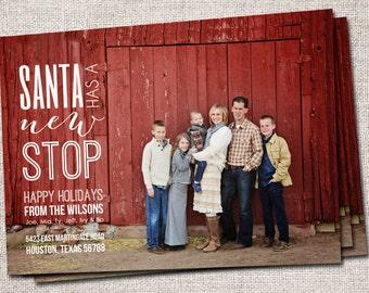 "Christmas card, Photo Christmas card, Holiday Card, Printable Christmas card, Modern Christmas card (""Santa Has a New Stop"" New Address)"