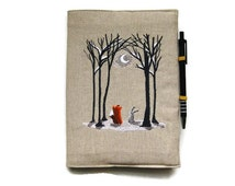 A6 notebook and pen, gift set, reusable notebook cover, embroidered linen Winter woodland scene fox and rabbit in the snow.
