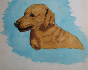 vintage original watercolor painting of a dachshund