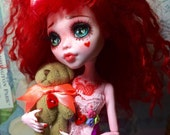 Ruby and her Red Velvet Hair-EA doll repaint and hand made outfit by Wicked Paper Dolls OOAK