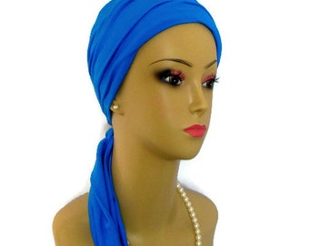 Jersey Scarf Turban: Celestial Blue | Volumizer Chemo Headwear | Jersey Knit Cancer Patient Hat | Hair Covering | Tichel & Mitpachat Cap
