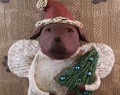CHOCOLATE LAB Christmas Angel, , OOAK, hand-sculpted from papier mache,,Tree with vintage Christmas bulbs