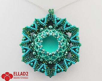 Tutorial Zahara Pendant - Beading Pattern,Jewelry Tutorial,Instant download, Ellad2