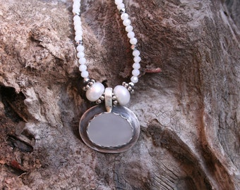 CUSTOM EXAMPLE of Beach Stone Set In Sterling Silver