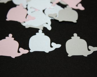 200 piecesWhale Die Cut Confetti Table Decor  Pink, Grey and White -