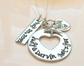 Hand Stamped Wedding Necklace- Anniversary Necklace-Bridal Necklace-Couples Necklace with Names