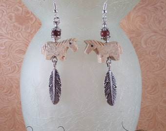 Cowgirl Earrings - Southwest Style Carved Jasper Horse Fetish Beads with Tibetan Silver Feathers