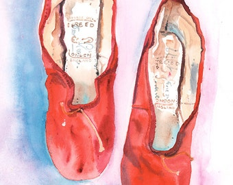 Ballet shoes painting, original painting, Watercolour Painting. Watercolor Fashion. Red Shoes, Red Ballet Shoes