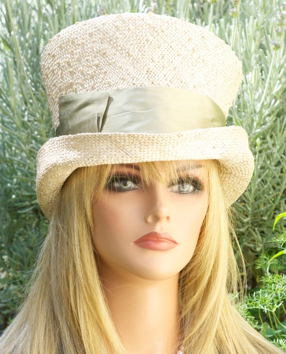 Wedding Hat, Kentucky Derby Hat, Straw Top Hat. Mad Hatter, Church Hat, Tea Party Hat, Sage Green Hat, Tan Hat Formal Hat, Ascot hat Natural