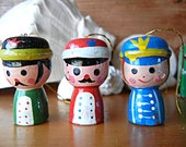 Vintage Handpainted toy soldiers Christmas tree ornaments vtg wooden soldiers Made in Taiwan for COMAR Industries 1979