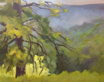 "Original Acrylic Abstract landscape painting- Fog at Kent park - 8"" x 8"""