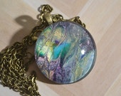 Glass Pendant with Miniature Painting - OOAK - Signed on back - Free Chain