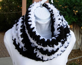 READY TO SHIP Large Crochet Cowl, Thick Neck Warmer, Big Bulky Cowl, Extra Chunky Hood Scarf, Black White, Extra Soft Acrylic, Winter Knit