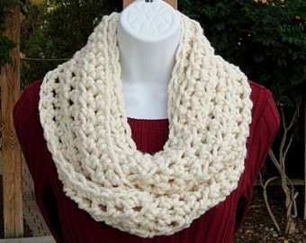 INFINITY SCARF Cowl Loop Fisherman Solid Light Cream Off White Soft Wool Blend Crochet Knit Winter Circle Wrap..Ready to Ship in 2 Days