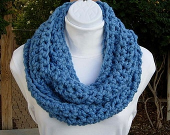 INFINITY SCARF Loop Cowl Light Solid Blue, Thick Soft Wool Acrylic Blend, Crochet Knit Circle Eternity Winter Wrap..Ready to Ship in 2 Days