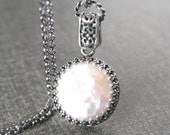White Freshwater Pearl Necklace Antiqued Sterling Silver Chain Necklace White Pearl Pendant Necklace June Birthstone Coin Pearl