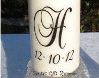 Wedding Candle Vinyl Decal  (1 Monogram plus Date) - Unity Candle Decals - Bride Groom - Couple - CANDLE NOT INCLUDED - Celebration