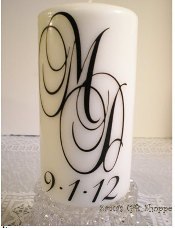 Wedding Candle Vinyl Decal (1 Double Monogram plus Date) - CANDLE NOT INCLUDED - Couple - Bride Groom - Wedding Reception - Anniversary