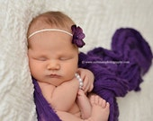 SET Purple Cheesecloth Fabric Layer Wrap and Headband Newborn Photography Prop