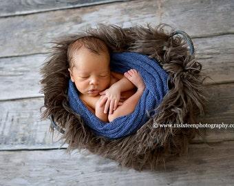 Pewter Faux Flokati Fur, Fur Blanket, Photography Prop, Faux Fur Rug, Newborn Fur, Newborn Baby Photography