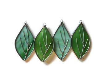 Stained Glass Green Leaves - Set of 4