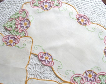 Vintage Doily Set of 3 Table Topper Colorful Cut Work with Embroidery Floral White Flowers Pink Green Purple Doilies