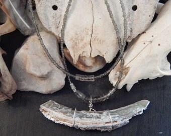 Abalone and Smoky Quartz grounding necklace- OOAK