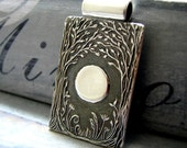 Fine Silver Personalized Pendant, Forest Moon No. 3, Handmade in Recycled Silver From Artisan Original Carving, by SilverWishes