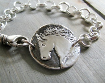 Personalized Horse Jewelry, Fine Silver Horse Bracelet, Handmade by SilverWishes