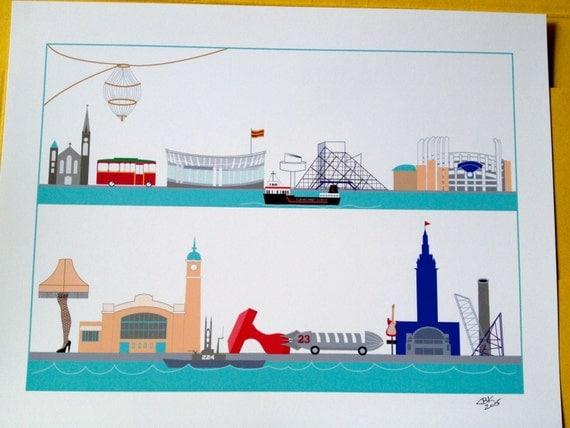 Cleveland landmarks print