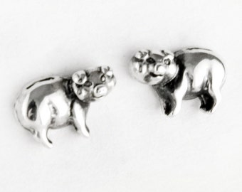 Pig Sterling Silver Post Earrings