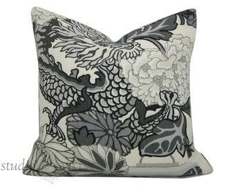 Schumacher Pillow Cover - Chiang Mai Dragon - Decorative pillow Cover  - 20 inch  - Schumacher - Smoke - ready to ship