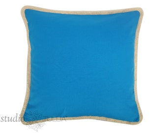 Blue Pillow Cover with natural brush fringe - 20 inch - Cobalt blue pillow - cotton - decorative pillow cover - ready to ship