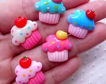 Assorted Cupcake Cabochons (5pcs / 18mm / Flatback) Miniature Sweets Deco Kawaii Dekoden Whimsical Jewellery Scrapbook Embellishment FCAB308