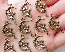 Fairy and Moon Charms / Fairy Tale Charm Drops (10pcs / 14mm x 25mm / Antique Gold) Fairytale Jewellery Angel Fay Faery Pendant CHM2243