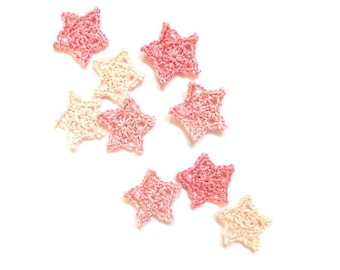 Little stars applique - crochet stars embellishments - pink stars - kids party decor - applique for girls - set of 9 ~1.4 inches