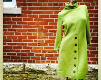 60s Italian Gino Paoli Pistachio Wool Dress       International Shipping