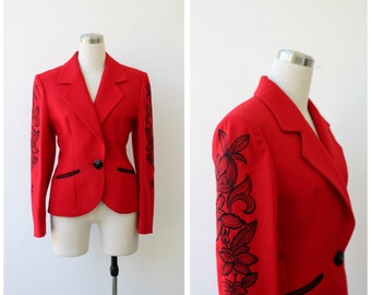 1980's Guy Laroche Paris red jacket xs small, fitted embellished designer blazer