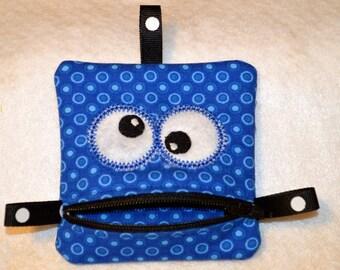 Handmade Blue Zippered Monster Coin Purse -  gift card holder