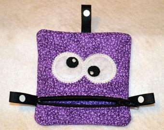 Handmade Purple Zippered Monster Coin Purse -  gift card holder