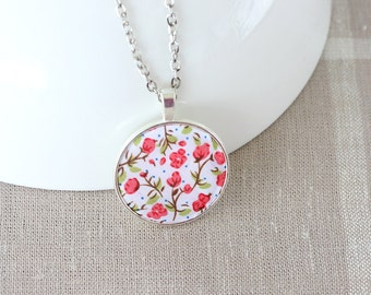 Red floral jewelry fabric pendant necklace for women long necklace boho jewelry hippie necklace gift ideas for teenage girls fashion jewelry
