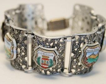 Vintage souvenir bracelet. Italy. Italian tourist sites. Passo Resia. Cortina